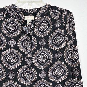LOFT Petite Paisley Long Sleeve Button Tier Dress